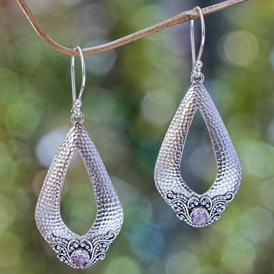 Amethyst dangle earrings, 'Purple Sukawati Glamour' - Sterling Silver and Amethyst Dangle Earrings from Bali