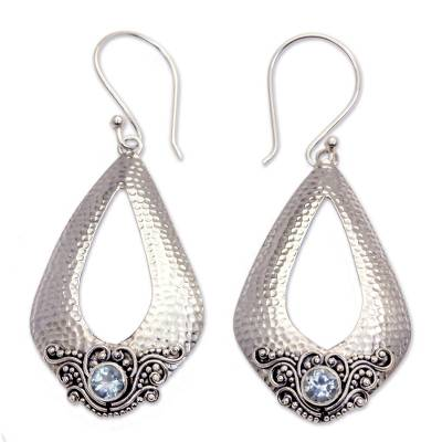 Blue Topaz and Hammered Silver Dangle Earrings