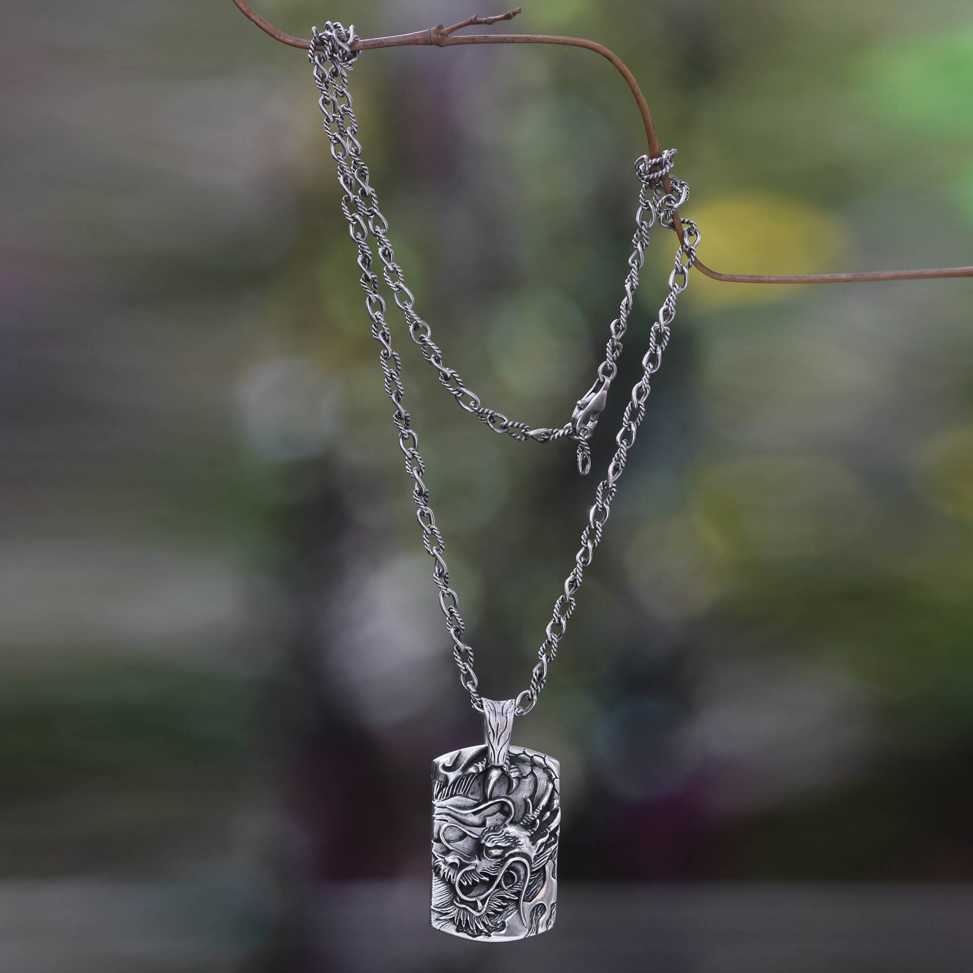 Men S Silver Dragon Pendant Necklace From Bali Ancient Dragon Novica