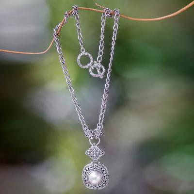 Pearl pendant choker, 'Sweet Serenity' - Balinese Pearl and Sterling Silver Choker