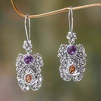 Amethyst and citrine dangle earrings, 'Rainforest Frog' - Amethyst and Citrine Frog Dangle Earrings