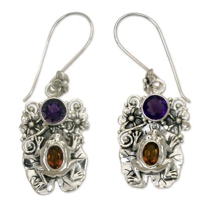 Amethyst and citrine dangle earrings, 'Rainforest Frog' - Amethyst and Citrine Frog Dangle Earrings