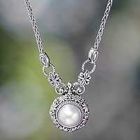 Cultured pearl pendant necklace, 'Hapsari' - Sterling Silver and Mabe Pearl Necklace from Indonesia