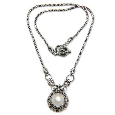 Cultured pearl pendant necklace, 'Hapsari' - Mabe Pearl and Sterling Silver Pendant Necklace from Bali