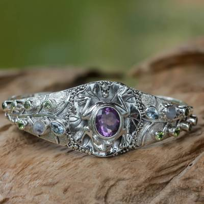 Amethyst and Multi-gemstone Silver Cuff Bracelet from Bali, 'Frog Song'