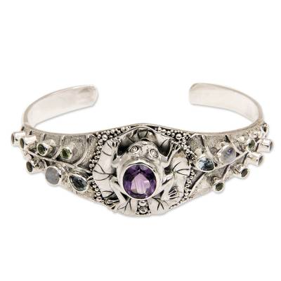 Gemstone cuff bracelet, 'Frog Song' - Multi-gemstone Silver Cuff Bracelet from Bali