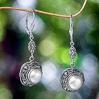 Mabe pearl dangle earrings, 'Serene Dreams' - Fair Trade Pearl and Sterling Silver Dangle Earrings