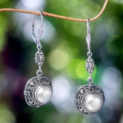 Mabe pearl dangle earrings, 'Serene Dreams' - Balinese Mabe Pearl and Sterling Silver Dangle Earrings