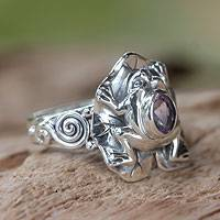 Amethyst cocktail ring, 'Lilac Rainforest Frog' - Amethyst and Silver Frog Cocktail Ring