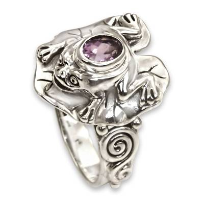 Amethyst and Silver Frog Cocktail Ring