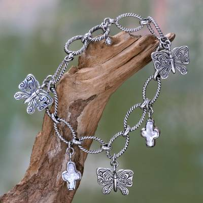 Cultured pearl charm bracelet, 'Monarch Cross' - Cultured Pearl and Silver Butterfly Charm Bracelet