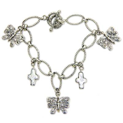 Biwa Pearl and Silver Butterfly Charm Bracelet