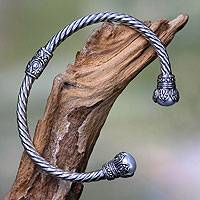 Cultured pearl cuff bracelet, 'Cotton Boll' - Cultured Pearl and Sterling Silver Cuff Bracelet from Bali