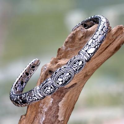Sterling silver cuff bracelet, 'Tulamben Coral' - Sterling Silver Cuff Bracelet from Bali