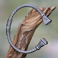 Sterling silver cuff bracelet, 'Heaven's Gate' - Balinese Sterling Silver Cuff Bracelet