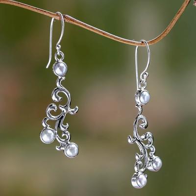 Cultured pearl dangle earrings, 'Singaraja Vines' - Sterling Silver and Cultured Pearl Dangle Earrings