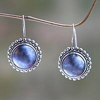 Cultured mabe pearl drop earrings, 'Once in a Blue Moon'