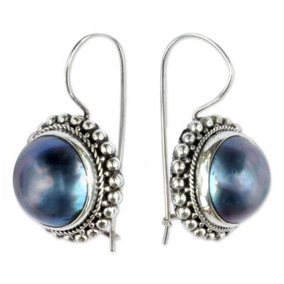 Cultured mabe pearl drop earrings, 'Once in a Blue Moon' - Artisan Crafted Cultured Blue Mabe Pearl Drop Earrings