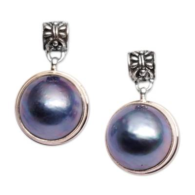 Cultured pearl dangle earrings, 'Morning Mist' - Sterling Silver and Cultured Blue Pearl Dangle Earrings