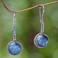 Cultured pearl dangle earrings, 'Blue Camellia' - Cultured Blue Pearl and Sterling Silver Dangle Earrings