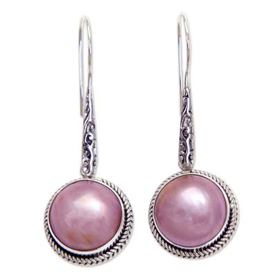 Cultured pearl dangle earrings, 'Balinese Camellia' - Balinese Cultured Pink Pearl Dangle Earrings