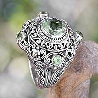 Prasiolite and peridot cocktail ring, 'Mahameru Green' - Prasiolite and Peridot Cocktail Ring