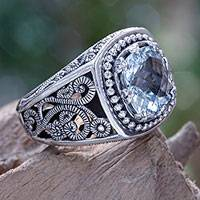 Blue topaz cocktail ring, 'Blue Desert Illusion' - Balinese Cushion Cut Blue Topaz Cocktail Ring