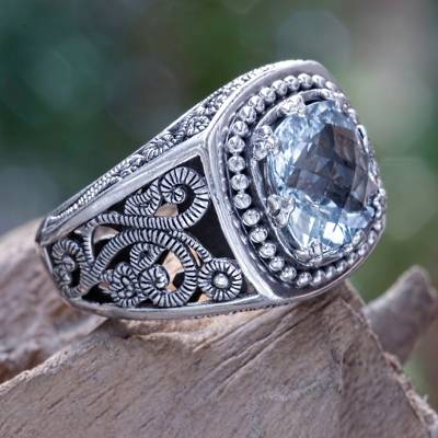 Balinese Cushion Cut Blue Topaz Cocktail Ring