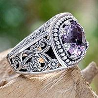 Amethyst cocktail ring, 'Purple Desert Illusion' - Four Carat Amethyst and Sterling Silver Ring from Bali