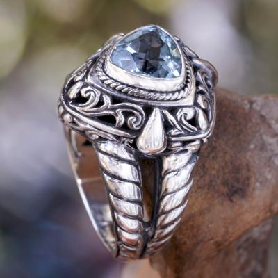 Blue topaz cocktail ring, 'Sky Sorceress' - Artisan Crafted Blue Topaz Cocktail Ring