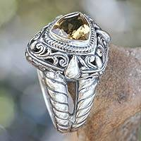 Citrine cocktail ring, 'Golden Sorceress' - Balinese Golden Citrine and Sterling Silver Cocktail Ring