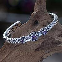 Amethyst cuff bracelet, 'Triple Crown in Purple'