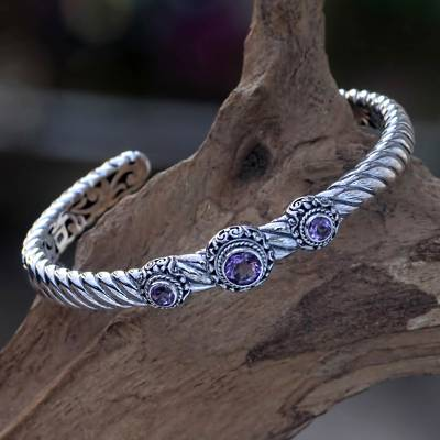 Amethyst cuff bracelet, 'Triple Crown in Purple' - Amethyst and Sterling Silver Cuff Bracelet from Bali