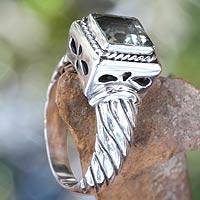 Men's prasiolite ring, 'Valiance'