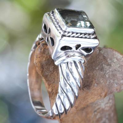Men's prasiolite ring, 'Valiance' - Men's Prasiolite and Sterling Silver Ring from Bali