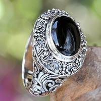 Onyx cocktail ring, 'Midnight Intrigue' - Onyx Cabochon and Sterling Silver Cocktail Ring from Bali