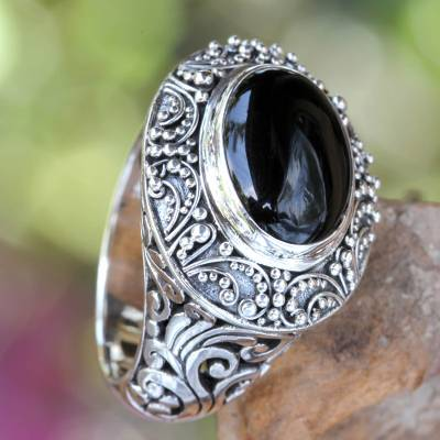 Onyx cocktail ring, Midnight Intrigue