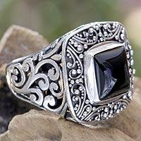 Onyx cocktail ring, 'Night Waves' - Handcrafted Onyx and Sterling Silver Cocktail Ring