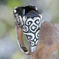 Onyx cocktail ring, 'Temple Goddess' - Onyx and Sterling Silver Cocktail Ring from Bali