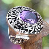 Amethyst cocktail ring, 'Kintamani Twilight' - Amethyst and Sterling Silver Cocktail Ring from Bali