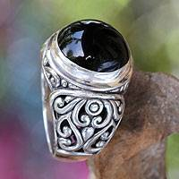 Onyx cocktail ring, 'Perfect Eclipse' - Onyx and Sterling Silver Cocktail Ring from Bali