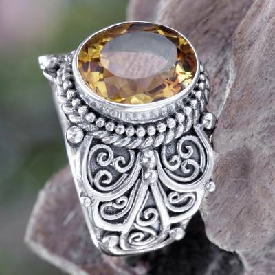 Citrine cocktail ring, 'Golden Flower' - Citrine and Sterling Silver Cocktail Ring from Bali