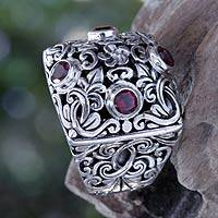 Garnet cocktail ring, 'Plumeria Garden' - Garnet and Silver Cocktail Ring