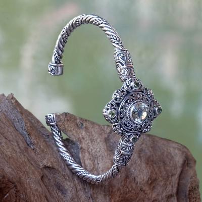 Prasiolite and peridot cuff bracelet, 'Mahameru Green' - Prasiolite and Peridot Silver Cuff Bracelet