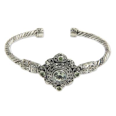Prasiolite and Peridot Silver Cuff Bracelet