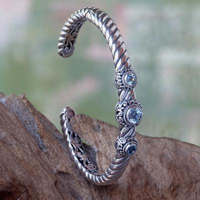 Blue topaz cuff bracelet, 'Triple Crown in Blue' - Handcrafted Blue Topaz Cuff Bracelet from Bali
