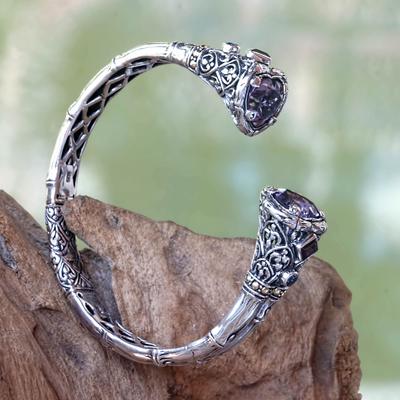 Multi-gemstone gold accented cuff bracelet, 'Meeting of Hearts' - Multi-gemstone Gold Accented Cuff Bracelet from Bali