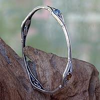 Multi-gemstone sterling silver cuff bracelet, 'Bamboo Treasure' - Multi-gemstone Sterling Silver Bamboo Cuff Bracelet