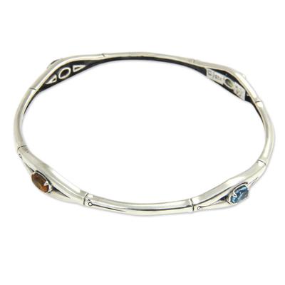 Multi-gemstone Sterling Silver Bamboo Cuff Bracelet