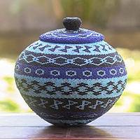 Beaded ate grass basket, 'Morning Sky' - Fair Trade Blue Beaded Ate Grass Basket